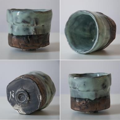 cup w black wash under seafoam and bronz