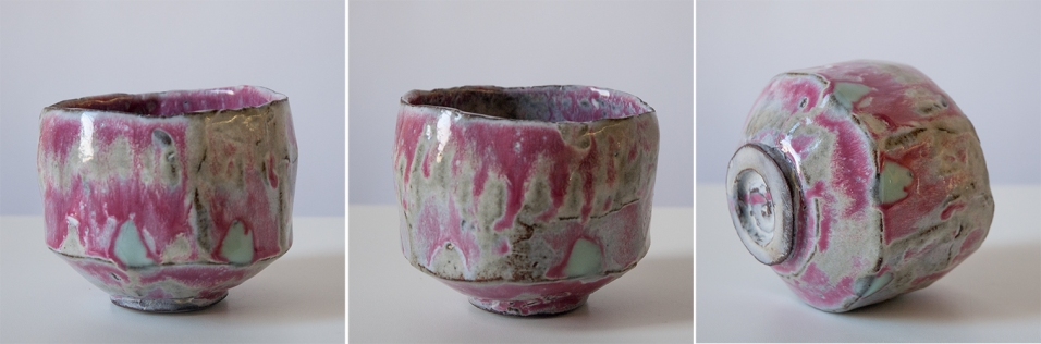Terracotta cup pink w green pads